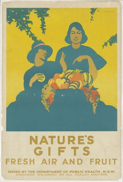 Nature's gifts [poster] : fresh air and fruit / issued by the Dept. of Public Health, NSW. 1930s.   http://www.sl.nsw.gov.au/discover_collections/history_nation/agriculture/produce/juicy