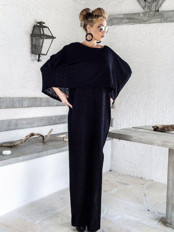 Warm Boucle Wool Maxi Cape Dress Kaftan / Winter Warm Long Cape Dress / Plus Size Dress / Oversize Loose Dress / #35166  Very warm and