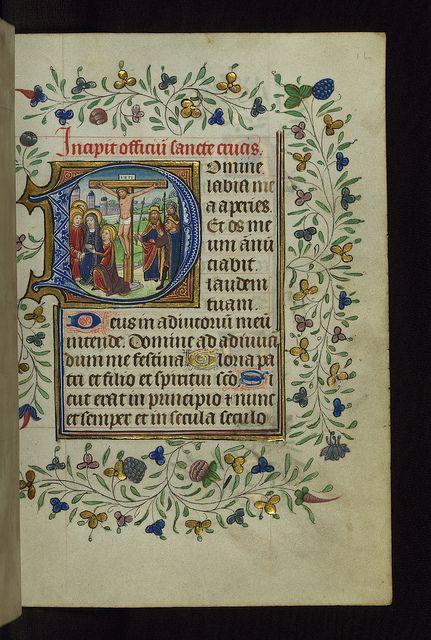 Illuminated Manuscript, Book of Hours, Crucifixion, Walters Manuscript W.168, fol. 16r by Walters Art Museum Illuminated Manuscripts, via Fl...
