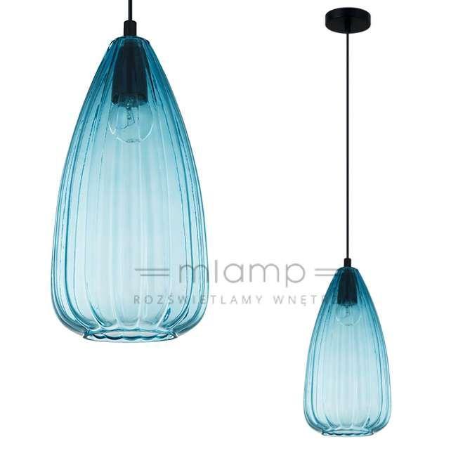 LAMPA wisząca MATTIO MDM-2910/1 BL Italux szklana OPRAWA zwis niebieski