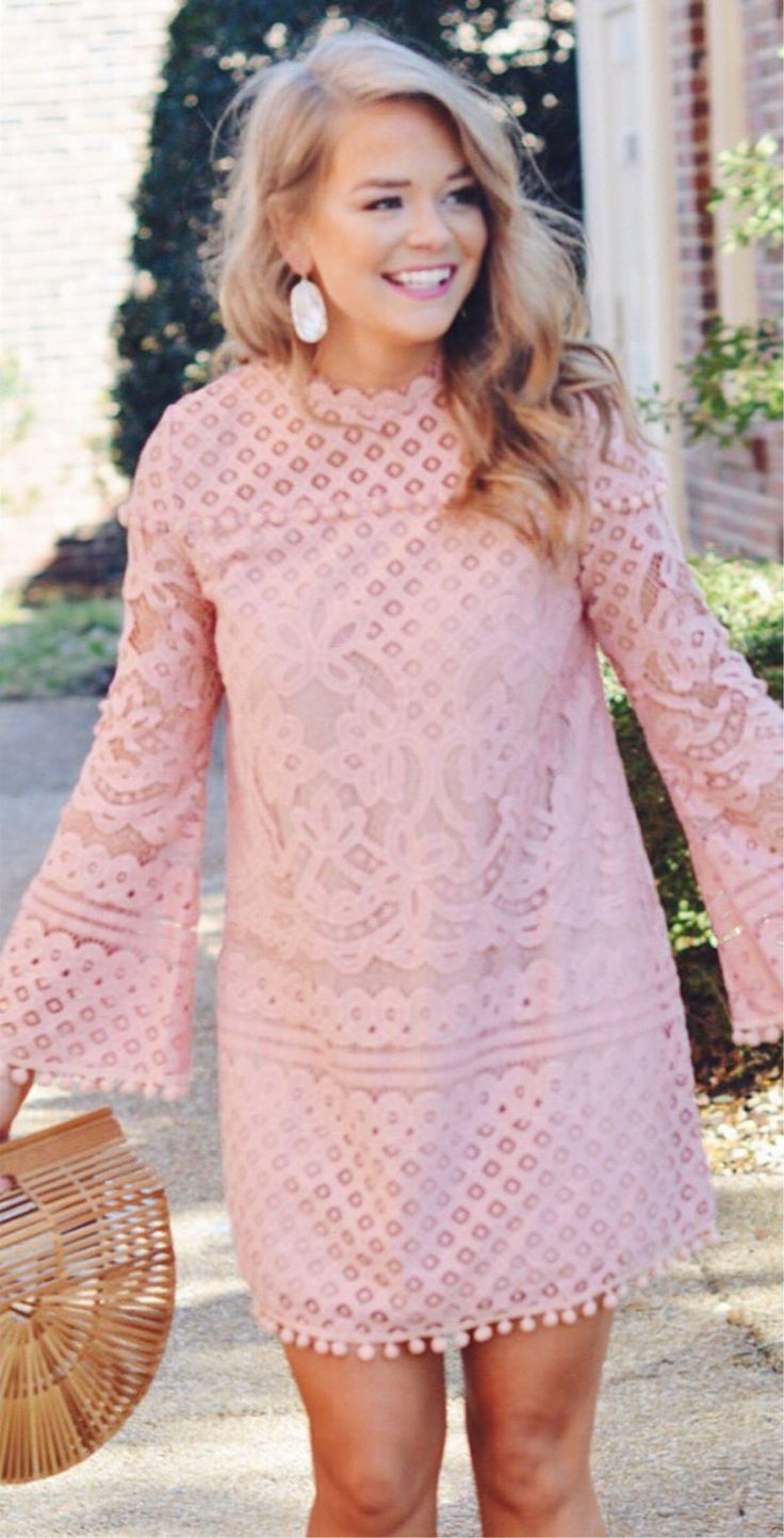 Pink Lace Dress & Wood Clutch