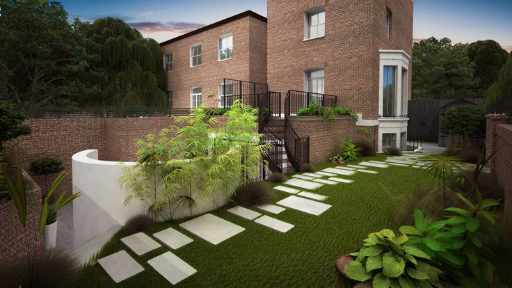 Landscaped garden on top of the games room. and steps down to lower patio and up to roof terrace.