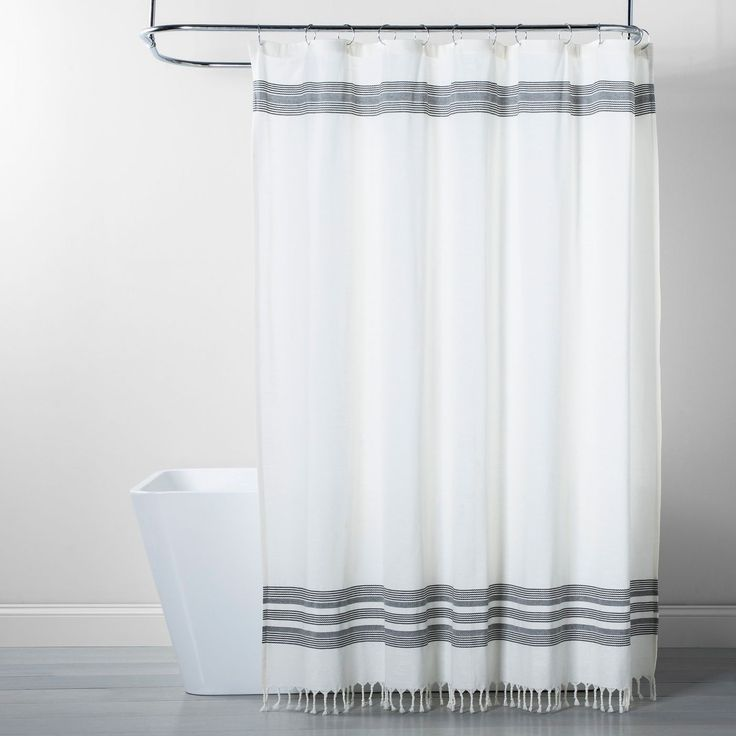 Black Stripe Fringe Shower Curtain White Gray Threshold