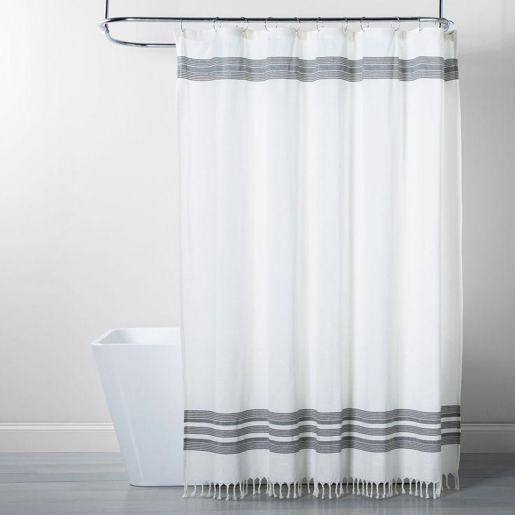 Black Stripe Fringe Shower Curtain White/Gray