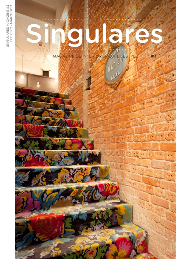 Awesome flowery staircase on the cover of Singulares Mag #3 - great way to bring  vibrant energy into a narrow space. Also balances a steep stairway by adding 'Wood'!