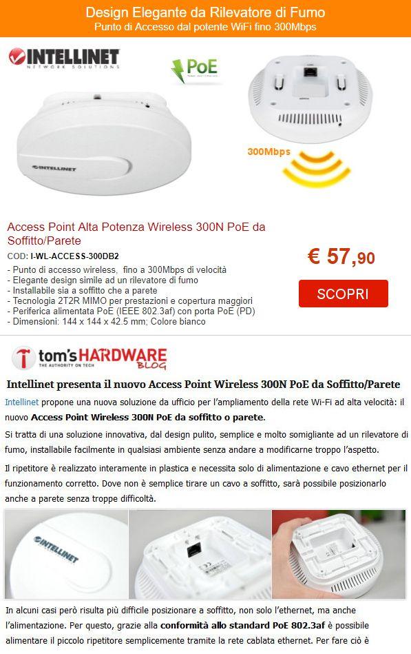 Access Point Alta Potenza Wireless 300N PoE da Soffitto/Parete. Design Elegante da Rilevatore di Fumo: 57,90 €
