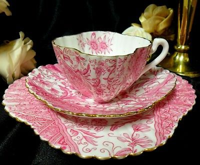 Pink Tea Cup, Saucer and Dessert Plate