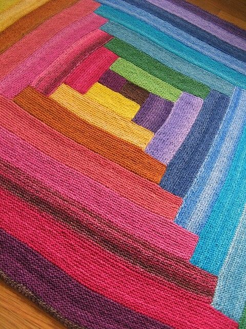 Hand-knit baby blanket or rug