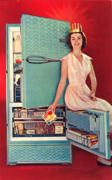 "It's the Frigidaire Queen!  I'm guessing kids everyone were confused why their parents punished them for sitting on the freezer door ""just like that lady did"". Fabulous aqua colour."