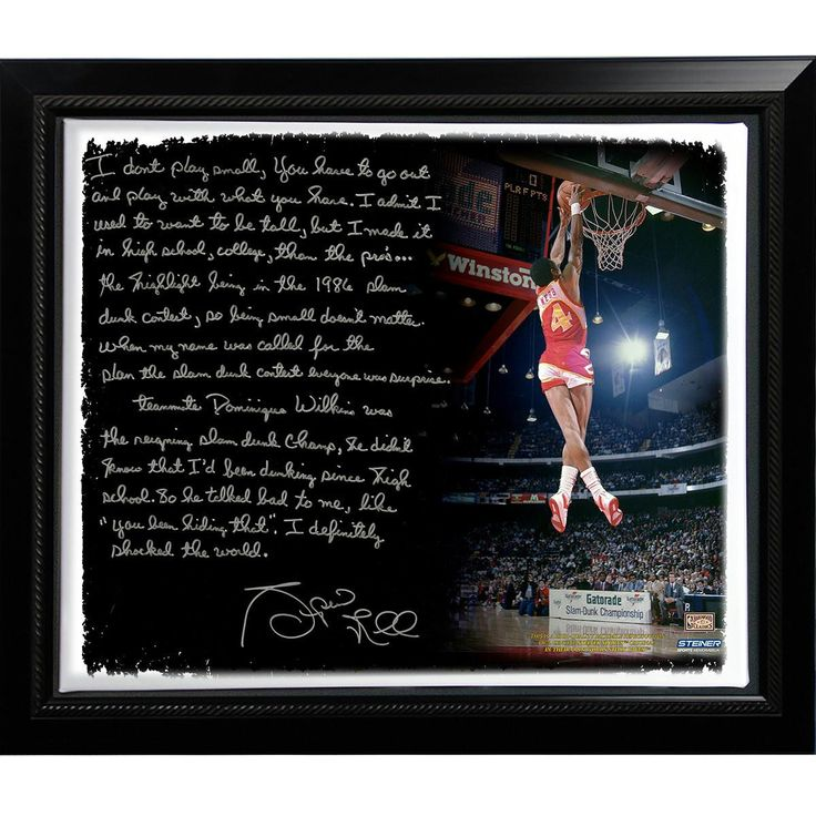 Spud Webb Facsimile Slam Dunk Contest Story Stretched Framed 22x26 Story Canvas