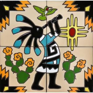 Complete your home decor with these colorful Southwest Kokopelli & Hummingbird ceramic tile murals!  Use them on a kitchen wall to brighten your work area or in any room of the home with tile.  Depicting beautiful scenery and culture, these tiles are for Southwest lovers.  Available in both a 4 tile mural or the larger 9 tile below.