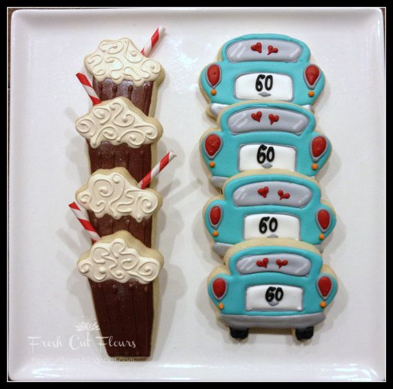 Fun cookies for a sock hop or a 50s party --  root beer floats and vintage cars