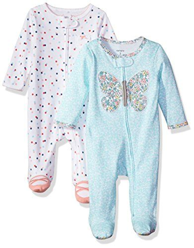 Carter's Baby Girls' 2-Pack Cotton Sleep and Play, Butterfly/Dot, Newborn. For price & product info go to: https://all4babies.co.business/carters-baby-girls-2-pack-cotton-sleep-and-play-butterflydot-newborn/
