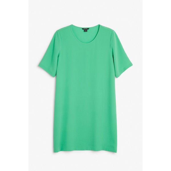 Monki Textured t-shirt dress ($19) ❤ liked on Polyvore featuring dresses, parrot green, textured dress, green tee shirt dress, green dress, tee dress and green t shirt dress