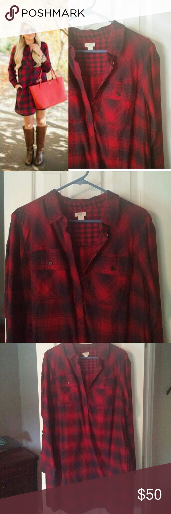 J. Crew Flannel Shirt Dress Brand new without tags! Never worn! Red and navy plaid flannel. Button front halfway, pullover. Two pockets on front. Perfect condition! *30% off bundles* J. Crew Dresses