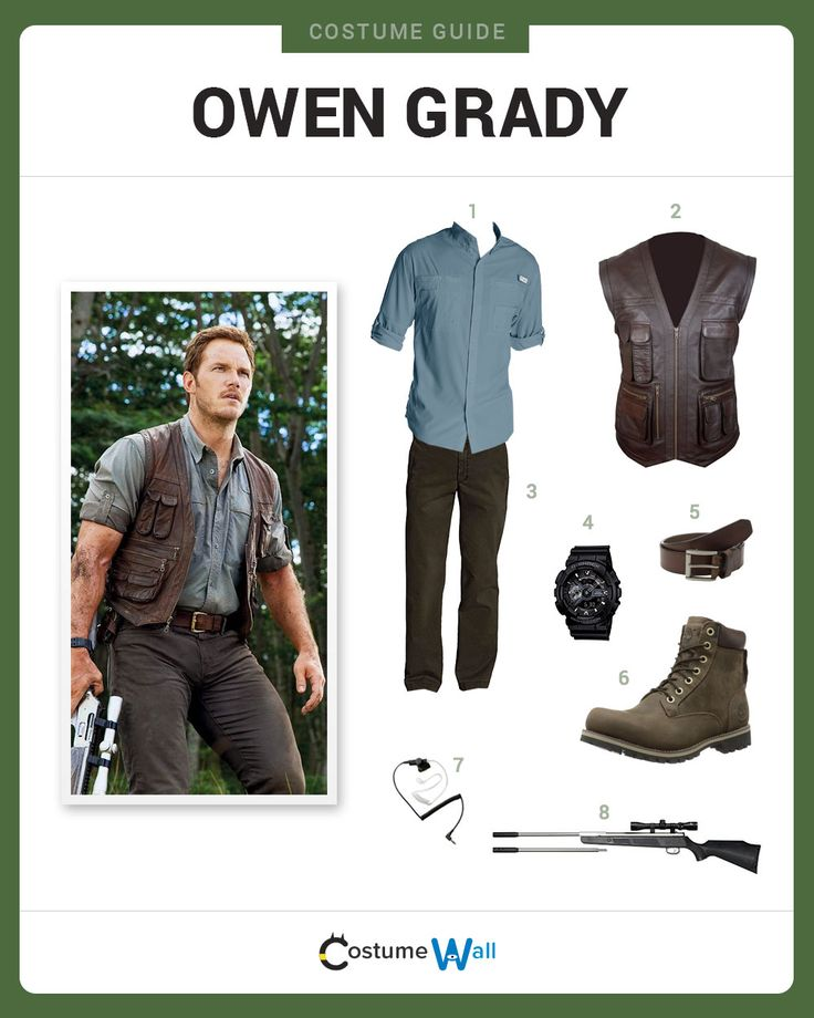 Dress Like Owen Grady (Chris Pratt) from Jurassic World. See additional costumes and Owen Grady cosplays.