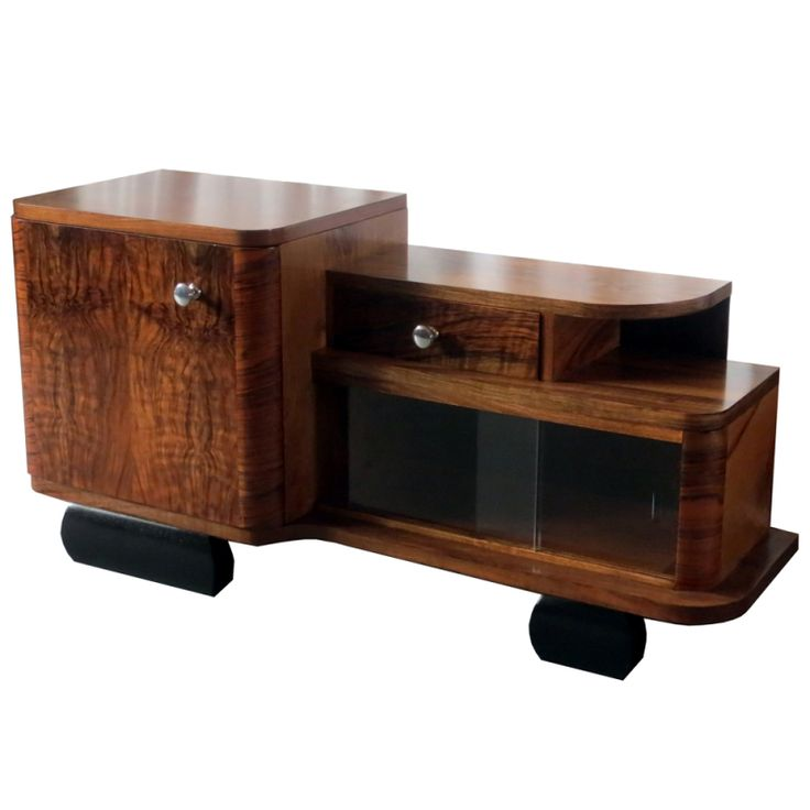 art moderne furniture. english art deco figured walnut veneer low cabinet moderne furniture t