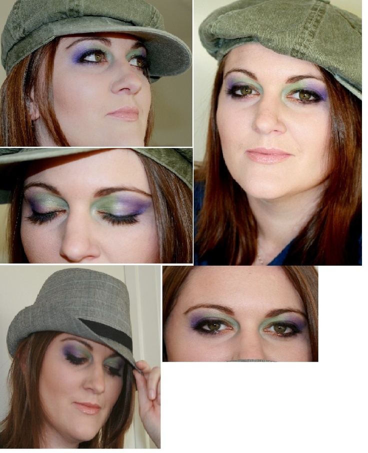 My Work!    I used Purple, Green and Gold to bring out the green in her hazel coloured eyes!