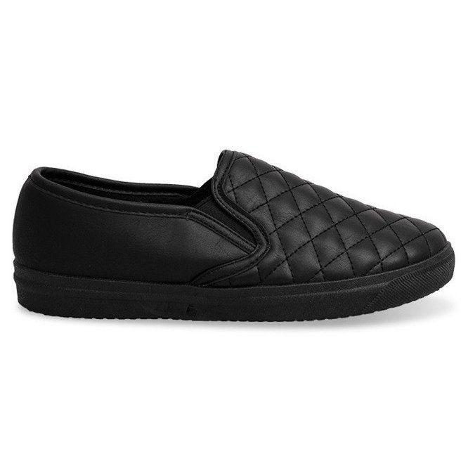 Pikowane Trampki Tenisowki Slip On 5077 Czarny Czarne Sneakers Women Shoes Trainers Women