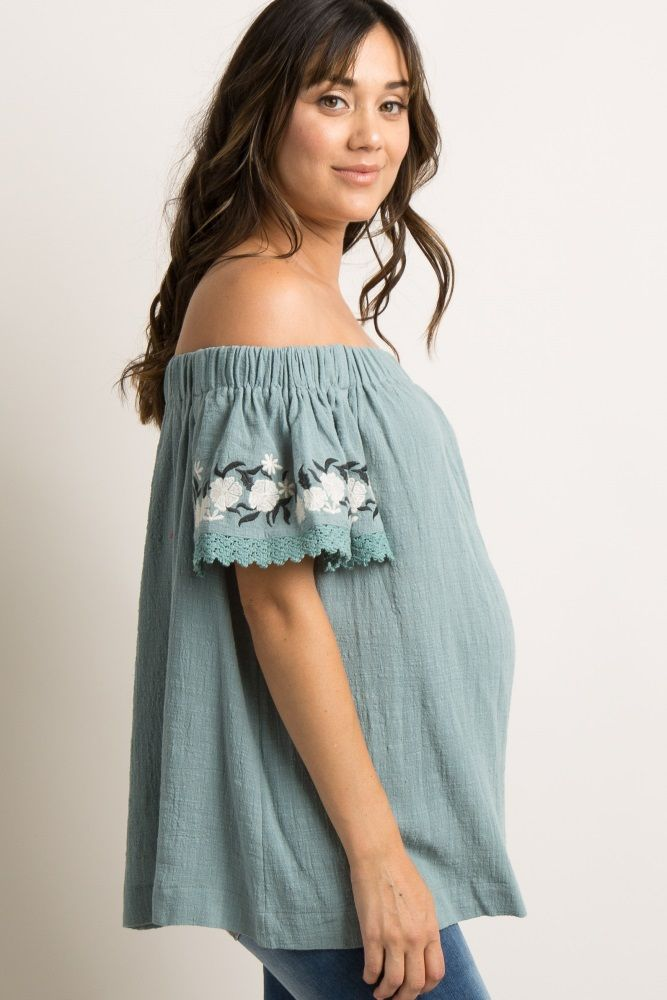 9729217920e33 Mint Green Floral Embroidered Off Shoulder Maternity Top