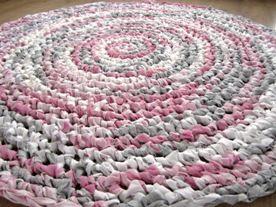 roze grijs wit rond vloerkleed