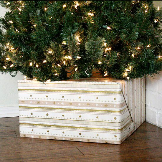 Tired of seeing that ugly tree base? Cats or kids make off with your fancy tree skirts? Hide your Christmas tree base with a gift!