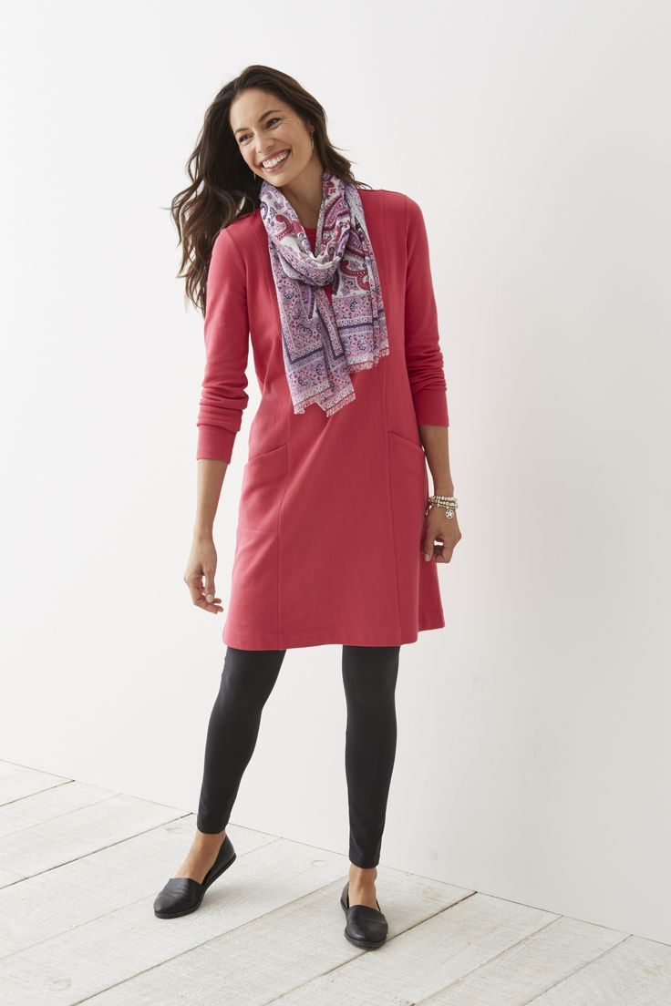 Seamed crew-neck knit dress and the paisley kaleidoscope scarf.