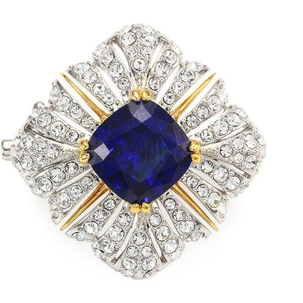 Adriana Orsini Heraldic Crystal Brooch (220 RON) ❤ liked on Polyvore featuring jewelry, brooches, crystal jewellery, pin jewelry, crystal brooches, crystal stone jewelry and pin brooch
