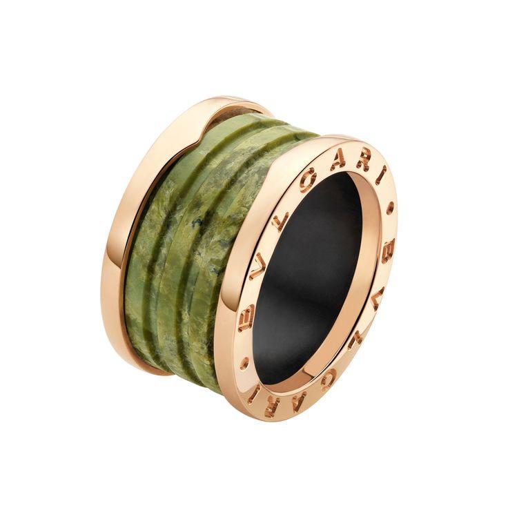 bulgari bzero1 18k pink gold u0026 green marble 4band ring