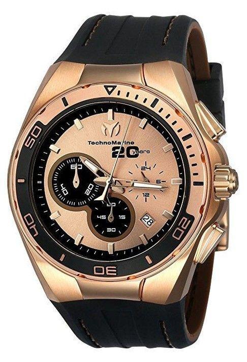 Technomarine TM-116001 Reloj Hombre 20 Aniversario Oro Rosa Estuche  Cronógrafo Correa Negra De Cuero  d9f0984bb9f3