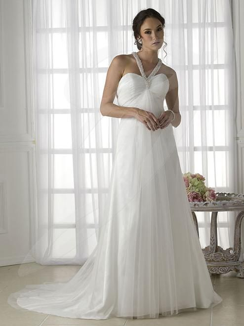 Balletts Bridal - 15110 - Wedding Gown by Jacquelin Bridals Canada - Informal. Fully pearled halter neck into T back. Pleated bodice. Net overlay