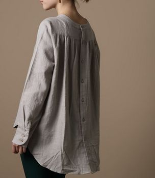 linen shirt … hit the men's dept. at the thrift store, turn it around, make a new neckline.