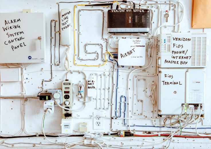 Wiring in Casey Neistat's office - like the wires on the board for organization's sake.