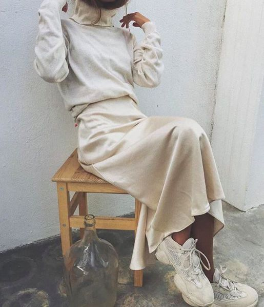 Oh how cool this beige satin slip skirt looks with a beige turtleneck! Can't wai…