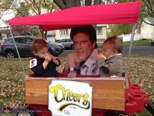 Stephanie: Jack (Cliff) and Teddy (Norm) are pictured with a cardboard cutout cameo of Ted Dansen while sitting at a Pergo made Cheers Bar, complete with Chocolate filled Beer Mugs.