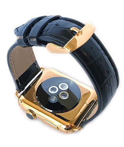 24K Gold 42MM Apple Watch SERIES 2 with Black Alligator Grain Band   PRODUCT Original Apple Watch SERIES 2 stainless steel customized and professionally gold plated by De Billas with an industrial grade of authentic 24 Karat