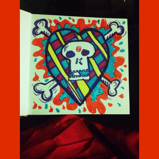 Skull heart drawing with sharpies