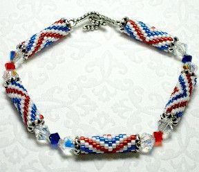 Patriotic crystal bracelet pattern swarovski crystals for Patriotic beaded jewelry patterns