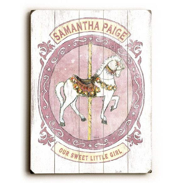 Personalized Kids Carousel Horse Wood Sign