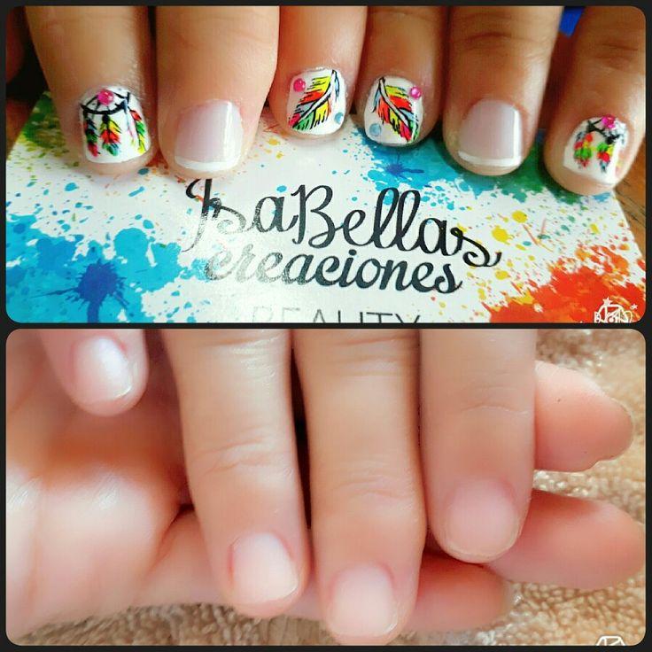 #arteconamor #uñaslindas #beauty #isabel #atrapasueños #plumas #nails #masglo #decoraciónconfrances #coloresvivos #uñaspequeñas