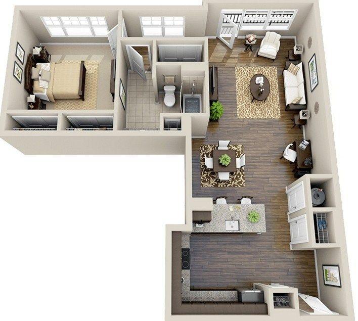 Plano De Departamento En L Planos Para Casas Pinterest