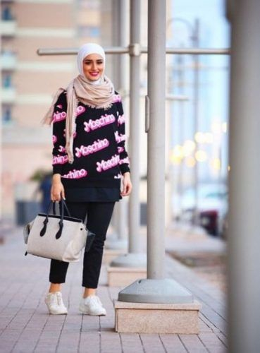moschino sweater hijab outfit