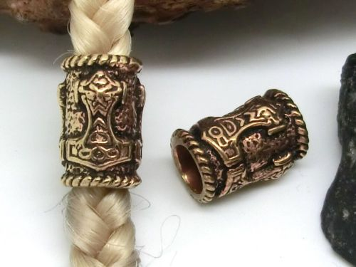 Thors Hammer Beard Bead Dreadlocks Bronze Jewelry