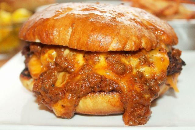 Turkey Chili Cheese Burger on Buttery Pretzel Bun