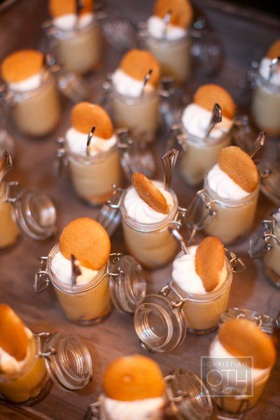 small vanilla bites..they have these micro mason jars at hob lob creme de leche pudding with mini vanill cookie or Natilla traditional  Mexican rice pudding with cinnamon on top so  cute to have waiters bring around later and mini pbj sand..not everyone will  like posole?
