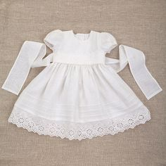 Baby girl baptism linen dress heirloom gown special by Graccia