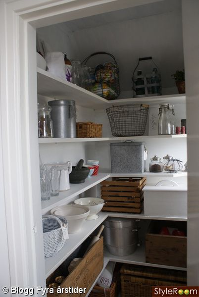 clean white shelving in the pantry