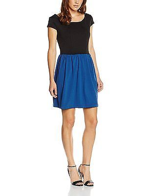 Large, multi (NERO_INDACO), Solo Capri Women's Abito Bicolore Manica Corta Dress