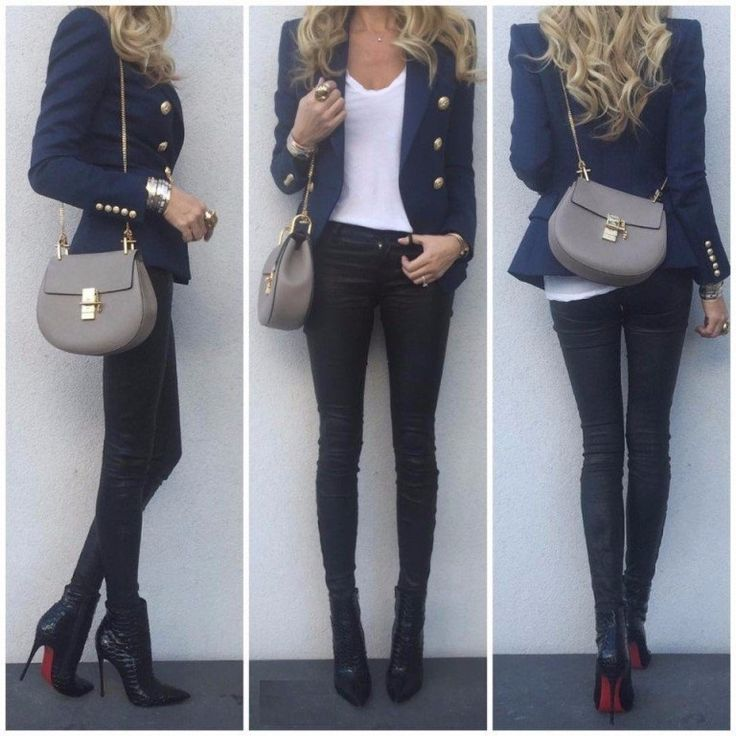 Nuestro look del día - la chaqueta de color azul marino y botines de tacón alto consiguen crear un estilo muy elegante...