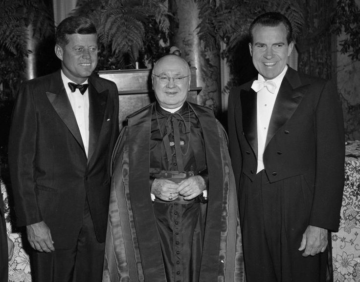 John F. Kennedy, Cardinal Spellman and Richard Nixon attend the Al Smith dinner at the Waldof Astoria prior to the 1960 election.